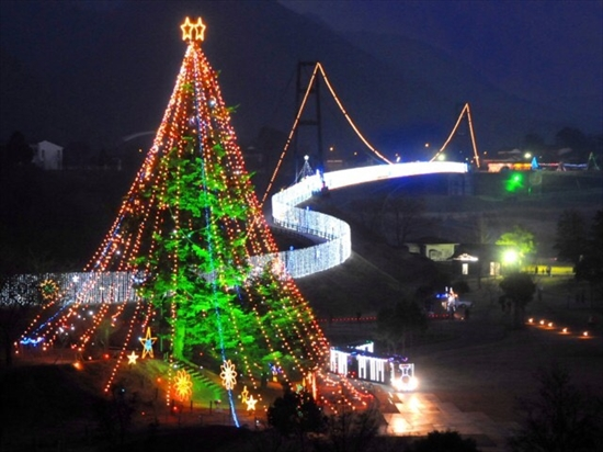 宮ヶ瀬 ダム 夜景 イルミネーション クリスマス_R